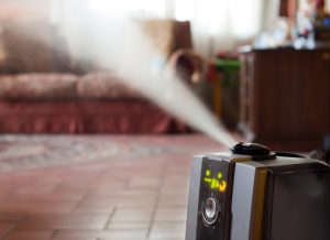 Digital humidifier with ionic air purifier at home interior